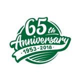 65 años del aniversario de plantilla del diseño Vector y ejemplo 65.o logotipo ilustración del vector