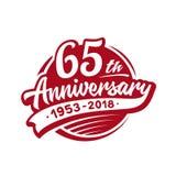 65 años del aniversario de plantilla del diseño Vector y ejemplo 65.o logotipo stock de ilustración