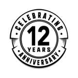 12 años del aniversario de plantilla del logotipo 12mo vector y ejemplo libre illustration