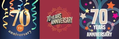 70 años del aniversario de sistema de iconos del vector, logotipo de la celebración ilustración del vector