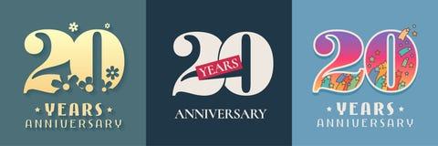 20 años del aniversario de sistema de la celebración del icono del vector, logotipo stock de ilustración