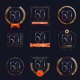 60 años del aniversario de sistema del logotipo Imágenes de archivo libres de regalías