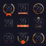 20 años del aniversario de sistema del logotipo Imágenes de archivo libres de regalías
