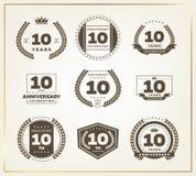 10 años del aniversario de sistema del logotipo Foto de archivo