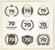 70 años del aniversario de sistema del logotipo Imágenes de archivo libres de regalías