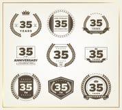 35 años del aniversario de sistema del logotipo Imagen de archivo