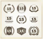 15 años del aniversario de sistema del logotipo Fotografía de archivo