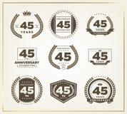 45 años del aniversario de sistema del logotipo Imagen de archivo