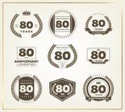 80 años del aniversario de sistema del logotipo Foto de archivo