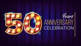 50 años del aniversario de vector de la bandera Cincuenta, quincuagésima celebración Dígitos del fondo de la lámpara Para el feli stock de ilustración