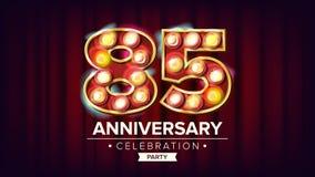 85 años del aniversario de vector de la bandera Ochenta y cinco, Ochenta-quinta celebración Número ligero brillante de la muestra stock de ilustración