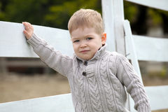 2 años del bebé en una valla de estacas blanca al lado de los hors Fotografía de archivo libre de regalías