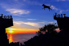 Años del concepto 2018 del perro con el cielo de la puesta del sol en la montaña Fotografía de archivo