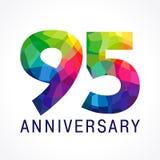 95 años del logotipo coloreado cristal de colores Fotos de archivo