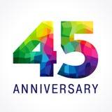45 años del logotipo coloreado cristal de colores Foto de archivo