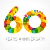 60 años del logotipo multicolor Ilustración del Vector