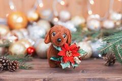 2018 años del perro, decoraciones de la Navidad Imagenes de archivo