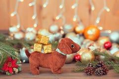 2018 años del perro, decoraciones de la Navidad Fotografía de archivo