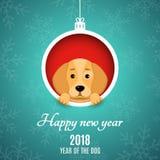 2018 años del perro Recortes de papel Publicidad de la bandera Bola de la Navidad del papel Ojeadas de un perro de la historieta  stock de ilustración
