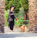 90 años elegantes de la mujer que camina alrededor de ciudad Foto de archivo libre de regalías