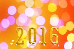 2016 años en luz borrosa del bokeh Imagen de archivo