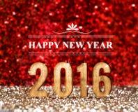2016 años en rojo y fondo del brillo del oro, concepto del día de fiesta Imagen de archivo libre de regalías