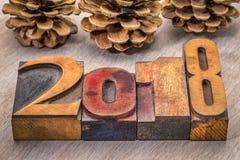 2018 años en tipo de madera de la prensa de copiar Imágenes de archivo libres de regalías
