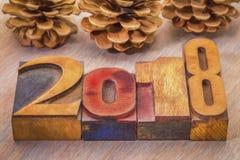2018 años en tipo de madera de la prensa de copiar Fotos de archivo libres de regalías