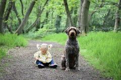 2 años lindos de vieja muchacha con su perro Foto de archivo libre de regalías