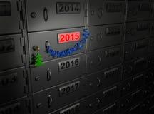 2015 Años Nuevos (caja de depósito seguro) Imagen de archivo libre de regalías