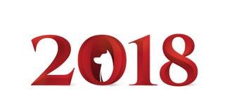 2018 Años Nuevos chinos de muestras de número de la tipografía del perro stock de ilustración