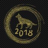 2018 Años Nuevos chinos del concepto minmal del perro amarillo con las líneas de oro del vector, brillo, textura de la hoja, silu libre illustration