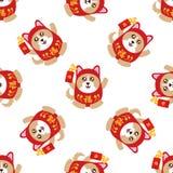 Años Nuevos chinos inconsútiles celebre el año de perro stock de ilustración