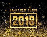 2018 Años Nuevos con los copos de nieve de oro ilustración del vector