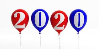 2020 Años Nuevos Dígitos en los globos rojos y azules, aislados en el fondo blanco ilustración 3D stock de ilustración