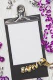 Años Nuevos de Eve Background con la tarjeta blanca Fotografía de archivo