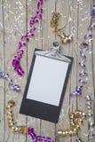 Años Nuevos de Eve Background con la tarjeta blanca Imágenes de archivo libres de regalías