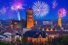 Años Nuevos de exhibición del fuego artificial en Gdansk Imágenes de archivo libres de regalías