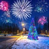 Años Nuevos de exhibición del fuego artificial en Zakopane Imágenes de archivo libres de regalías