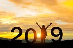 2019 Años Nuevos de feliz para el soporte de la muchacha de la silueta Fotografía de archivo libre de regalías
