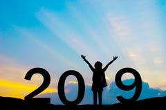 2019 Años Nuevos de feliz para la silueta Imagen de archivo