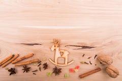 Años Nuevos de fondo en una tabla de madera Imagenes de archivo
