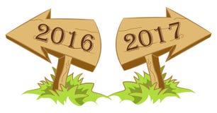 Años Nuevos de la flecha de madera ilustración del vector