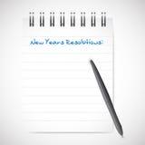 Años Nuevos de las resoluciones de la libreta de ejemplo de la lista Fotos de archivo libres de regalías