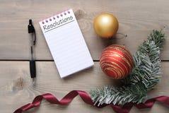 Años Nuevos de lista de las resoluciones Imagen de archivo