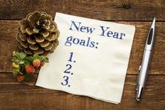 Años Nuevos de lista de las metas en servilleta Fotografía de archivo libre de regalías