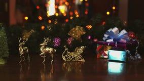 Años Nuevos de los ciervos de luces del trineo almacen de metraje de vídeo
