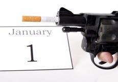 Años Nuevos de resolución abandonada fumando concepto Imagen de archivo