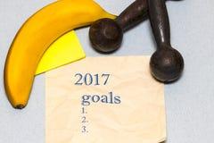 Años Nuevos de resoluciones y metas para la forma de vida y el nutrit sanos Fotografía de archivo libre de regalías
