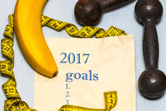 Años Nuevos de resoluciones y metas para la forma de vida y el nutrit sanos Foto de archivo